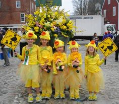 These children are all dressed up to happily participate in the Nantucket Daffodil Festival.