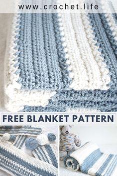 Simple and Easy Striped Baby Blanket Crochet Pattern - Crochet . Life Simple and Easy Striped Baby Blanket Crochet Pattern - Crochet . Crochet Baby Blanket Free Pattern, Crochet Baby Blanket Beginner, Afghan Crochet Patterns, Crochet Blankets, Striped Crochet Blanket, Simple Crochet Blanket, Crochet Afgans, Beginner Crochet, Motifs Afghans