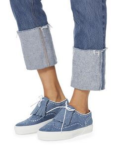 Tolka Kiltie Denim Brogue Sneakers, DENIM, hi-res