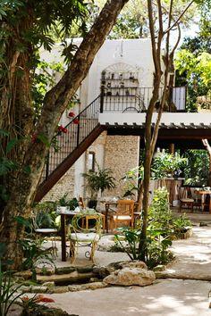 Hotel La Semilla's patio is built into the lush surroundings of Playa del Carmen. #Jetsetter