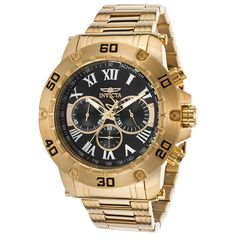 Invicta 19700 Gent's Black Dial Yellow Gold Steel Chrono Watch,    #Invicta,    #Invicta19700