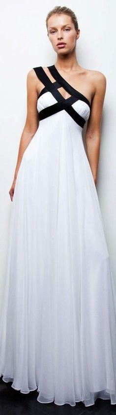 Christos Costarellsos -- This white gown with black detailing is lovely!