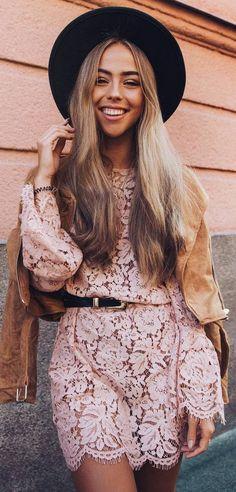 boho style perfection: lacer dress + jacket + hat