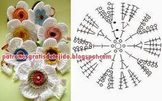 Graziosi fiori all'uncinetto con schema, per decori - Il blog italiano sullo Shabby Chic e non solo