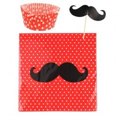 MUSTACHE CUPCAKE PARTY PACK Mustaches! This absolutely adorable party pack features 25 cupcake liners, 24 mustache cupcake toppers, and 40 napkins emblazoned with a curly mustache motif.   $14.99