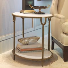 """Global Views - Iron & Stone Side Table. 20""""W x 30""""D x 23.25""""H"""