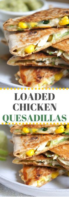 Healthy chicken and vegetable quesadillas with a creamy avocado salsa for dunking