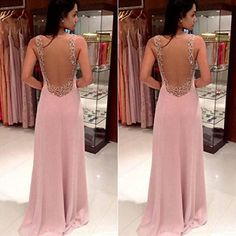 Changeshopping(TM) Lady Backless Chiffon Gown Dress (S)