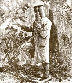 'Ned Kelly at bay' as drawn by Thomas Carrington. Watching from more than 100 metres away, Carrington was unaware that the oilskin coat was actually draped over Ned's shoulders like a cloak. Other authentic details like the helmet, 'strapped' riding pants and spurred riding boots were sketched after Ned's capture.