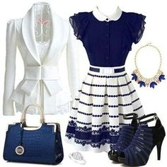 Blue and white date attire Lila Outfits, Classy Outfits, Chic Outfits, Dress Outfits, Look Fashion, Womens Fashion, White Fashion, Cheap Fashion, Fashion Ideas