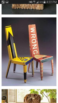 Old signs recycled to become fantastic and creative chairs
