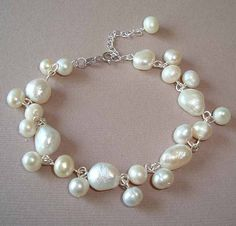 Fresh Water Pearl Bracelet White Fresh Water Pearls by RibbonGlory, $15.95