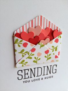 Pulled out a sweet little envelope die from Simon Says Stamp from my die box, combined with some die cut hearts and a Simon sentiment from. Homemade Birthday Cards, Birthday Cards For Friends, Homemade Cards, Pop Up Cards, Cool Cards, Fancy Fold Cards, Get Well Cards, Valentine Day Cards, Paper Cards