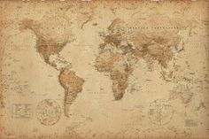 World Map Antique Look...frame with rope for pirate room
