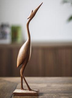 Vintage Retro 1960s Teak Crane Bird | pretty simple