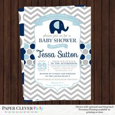 Baby boy shower invitations navy blue and gray with elephant modern chevron digital file or printed invitations
