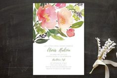 """Watercolor Floral"" - Floral & Botanical Bridal Shower Invitations in Olive by Yao Cheng."