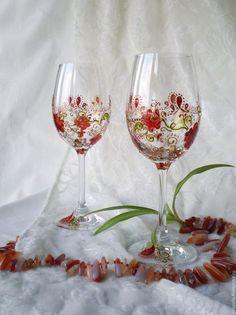 """Бокалы, стаканы ручной работы. Ярмарка Мастеров - ручная работа. Купить Бокалы """"Цветочный вальс"""". Handmade. Бокал, Роспись по стеклу"""