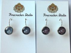Medieval shield design Silver Plated round earrings in silver