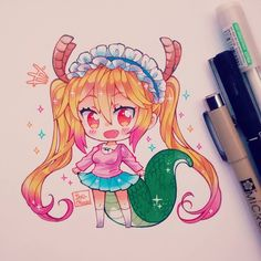 Tohru esa es la ropa que le regaló Kobayashi hace unos capítulos atrás. Necesito una persona así en mi laifff. Probé líneas cafe con negro está vez, me gustó como salió. #kobayashisanchinomaiddragon #tohru #dragon #maid #kimpatsu #blondehair #chibi #chibiart #anime #kemonomimi #moe #kawaii #cute #kawaiigirl #kawaiichibi #instadraw #instaanime #instaart