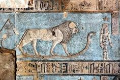 Lion at ceiling at Hathor temple, Dendera, Egypt