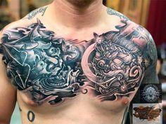Japanese Hand Tattoos, Japanese Tattoo Symbols, Japanese Tattoo Designs, Chest Piece Tattoos, Chest Tattoo, Irezumi Tattoos, Leg Tattoos, Foo Dog Tattoo Design, Predator Tattoo