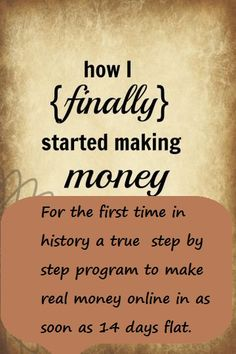 For the first time in history a true  step by step program to make real money online in as soon as 14 days flat http://starelite.sitesuite.com/14day-to-success