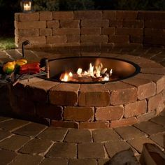 Necessories Grand 48 in. Fire Pit Kit in Santa Fe-3500003 - The Home Depot Fire Pit Ring, Diy Fire Pit, Fire Pit Backyard, Backyard Patio, Backyard Fireplace, Backyard Seating, Backyard Retreat, Fireplace Ideas, Fireplace Design