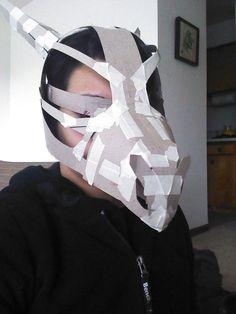 Making of the Cubone Skull mask Cardboard Mask, Cardboard Sculpture, Diy Costumes, Cosplay Costumes, Halloween Costumes, Cosplay Tutorial, Cosplay Diy, Dragon Mask, Fancy Dress