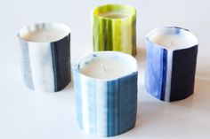 Le Feu De L'Eau Water Cut Candles. Available in: Chartreuse, Bleu Phthalo, Gris, Bleu Nuit, Gris, Ivoire, Amber