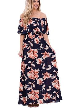 df507d8c04b9 Navy Blue Boho Vibe Floral Print Off Shoulder Maxi Dress