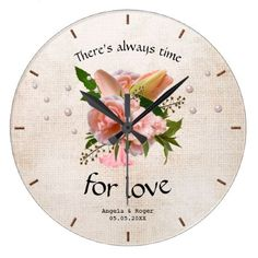 #country - #Romantic Rustic Pink Floral Wedding Clock