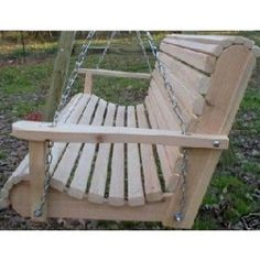 Ted's original and best selling swing - the Ted's Porch Swings Rollback I Porch Swing. The roll back design features extensive curves to contour to your body for ultimate comfort. Constructed from extra durable cypress, the swing is built to last. The swing is heavily constructed with slats that are 1 inch thick and 1 3/4 inches wide routered (no sharp edges). Each slat is finish sanded on all sides and ends for your safety and comfort...