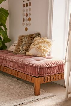 Rohini Velvet Daybed Cushion from Urban Outfitters. Perfect for a dreamy boho interior. Maybe even to use as a floor pillow. Wood Daybed, Bed Bench, Bench Cushions, Floor Cushions, Diy Daybed, Daybed Couch, Small Daybed, Daybed Bedding, Living Room Daybed
