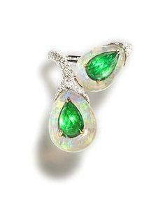 AN EMERALD, OPAL AND DIAMOND CROSSOVER RING, by Chantecler