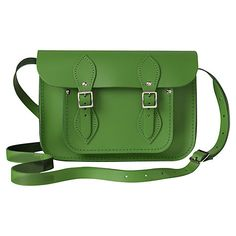 """Not sure about a school bag...more like 'My handbag'!!!... Don't tell the kids! :o)  The Cambridge Satchel Company The Classic 11"""" Leather Satchel Bag, Green Online at johnlewis.com"""
