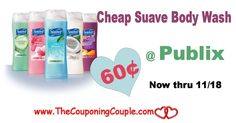 Cheap Suave Body Wash 60¢ or less @ Publix Now through 11/18/16. Get your coupons clipped and head over to your local Publix to grab this deal  Click the link below to get all of the details ► http://www.thecouponingcouple.com/cheap-suave-body-wash-publix-now-through-111816/ #Coupons #Couponing #CouponCommunity  Visit us at http://www.thecouponingcouple.com for more great posts!