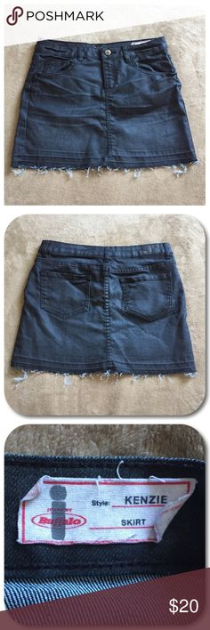 i jeans by Buffalo Jean Skirt i jeans by Buffalo black jean skirt. Girl size 14. Style is Kenzie. Zipper and button closure. Front and back pockets. Distressed frayed bottom. i jeans by Buffalo Bottoms Skirts