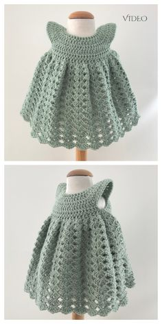 Crochet Baby Dress Free Pattern, Crochet Dress Girl, Newborn Crochet Patterns, Baby Girl Dress Patterns, Baby Girl Crochet, Crochet Baby Clothes, Crochet Baby Dresses, Layette Pattern, Knit Baby Dress