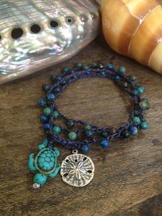 "Surfing Turtle Crochet Multi Wrap Bracelet, Anklet, Necklace ""Beach Chic"" Endless Summer"