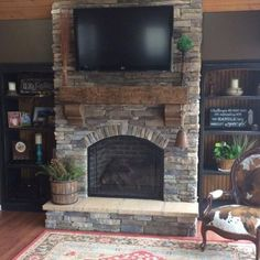 3 Amazing Useful Ideas: Living Room Remodel Before And After Small Spaces living room remodel with fireplace open concept.Living Room Remodel With Fireplace Cabinets livingroom remodel french country.Living Room Remodel On A Budget Saving Money. Rustic Fireplaces, Farmhouse Fireplace, Fireplace Hearth, Home Fireplace, Fireplace Remodel, Living Room With Fireplace, New Living Room, Living Room Decor, Grey Fireplace