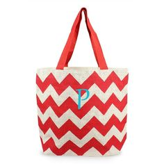 Cathy's Concepts Personalized Chevron Print Jute Tote ($30) ❤ liked on Polyvore featuring bags, handbags, tote bags, monogrammed purses, zip top tote bag, chevron purse, white tote bag and monogram tote