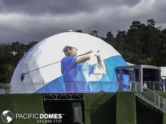 This 50' event dome has a custom printed cover designed by AT&T for the PGA Pro-Am golf event in Pebble Beach, CA.