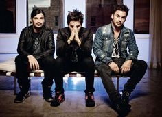 Tomo Miličević, Jared Leto & Shannon Leto - 30 Seconds To Mars: Mix of denims and leather.