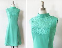 60s mod dress / mint green mod dress / vintage by RustBeltThreads, $52.00
