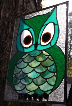 Owl Stained Glass Panel by unblinkingeye on Etsy