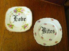 Love Bites hand painted vintage  bone china bread and butter
