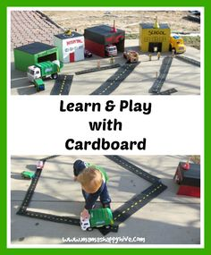An easy DIY Cardboard Community Buildings and roads tutorial for an outdoor invitation to play activity. Creative Activities For Kids, Creative Arts And Crafts, Kid Activities, Creative Kids, Outdoor Fun For Kids, Outdoor Play, Cardboard Crafts, Felt Crafts, Baby Vans
