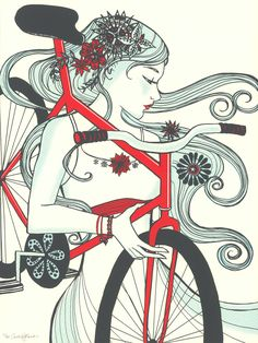 "Le Printemps Arrive by Courtney Thomas - Art Nouveau poster of a woman with her bicycle influenced by Alphonse Mucha and Grateful Dead posters from 1960s and 1970s. ""I think it has done more to emancipate women than anything else in the world. It gives women a feeling of freedom and self-reliance. I ... rejoice every time I see a woman ride by on a wheel…the picture of free, untrammeled womanhood."" - Susan B. Anthony (http://blog.bikehike.com/40-of-the-best-biking-quotes-of-all-time/)"