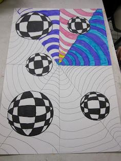 Think Create Art: Op Art-6th Grade-Instructions I have some old examples of this would be good for both grades. High School did and op art hand in the beginning of the year but this would be great and a lesson on color schemes too.